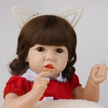 22 Inch 55CM Lifelike Reborn Baby Red Skirt Doll Soft Real Touch Full Silicone Toy For Kid Gift Crooked Mouth F or Kid Playmate 55cm lifelike boneca reborn baby doll soft real touch full silicone toys for children birthday gift crooked mouth doll kids