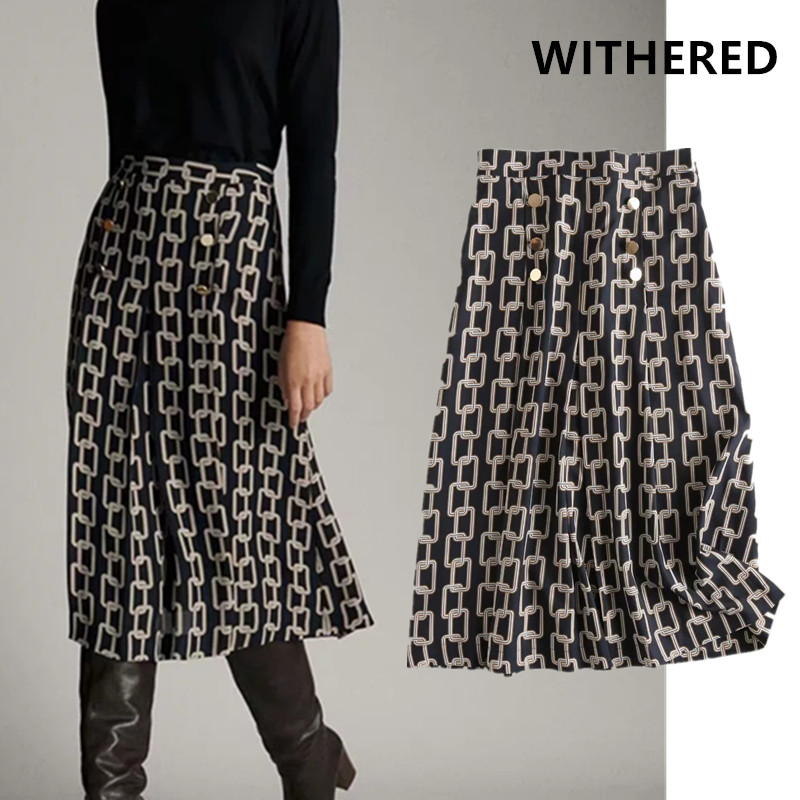 Withered England Office Lady Urban Elegant Iron Chain Print Midi Skirt Faldas Mujer Moda 2020 Long Skirts Womens 2 Pieces Set
