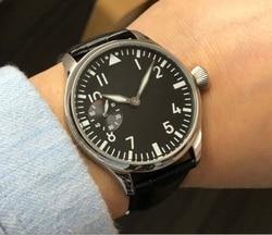 Sapphire crystal or mineral glass 44mm GEERVO  Asian 6497 17 jewels Mechanical Hand Wind movement men's watch luminous gr306-g8