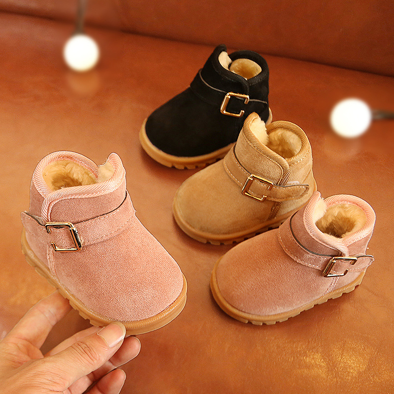 Children's Snow Boots Winter Girls Warm Cotton Shoes Baby Non-slip Boots  Infant Girl Shoes  Baby Walking Shoes