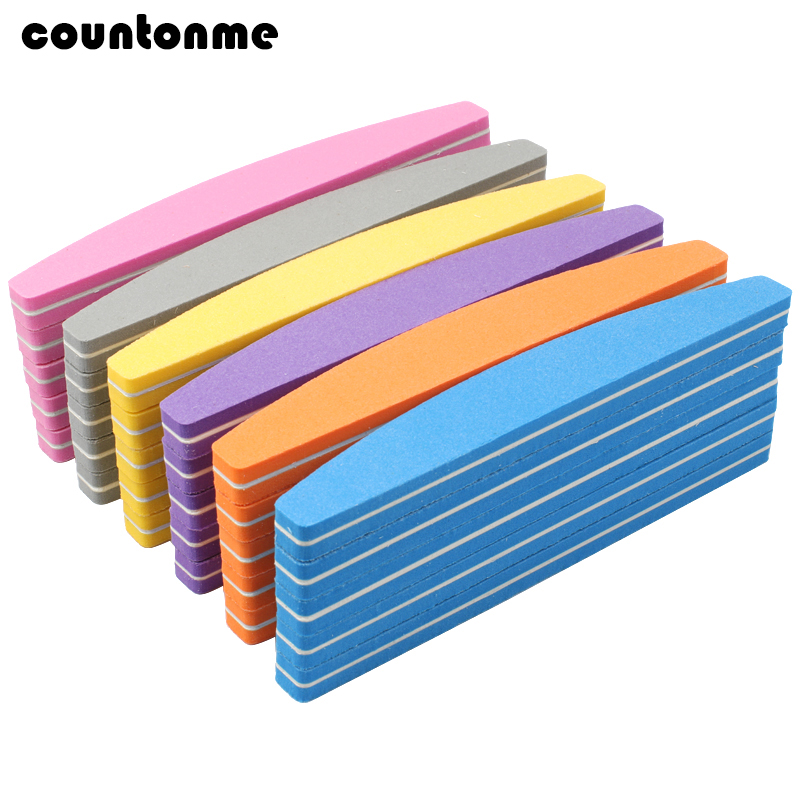 25Pcs Colorful Nail Sponge Sanding File 100/180 Nail Art Manicure Buffer Foam Emery Board Moon Lime A Ongle Professionel