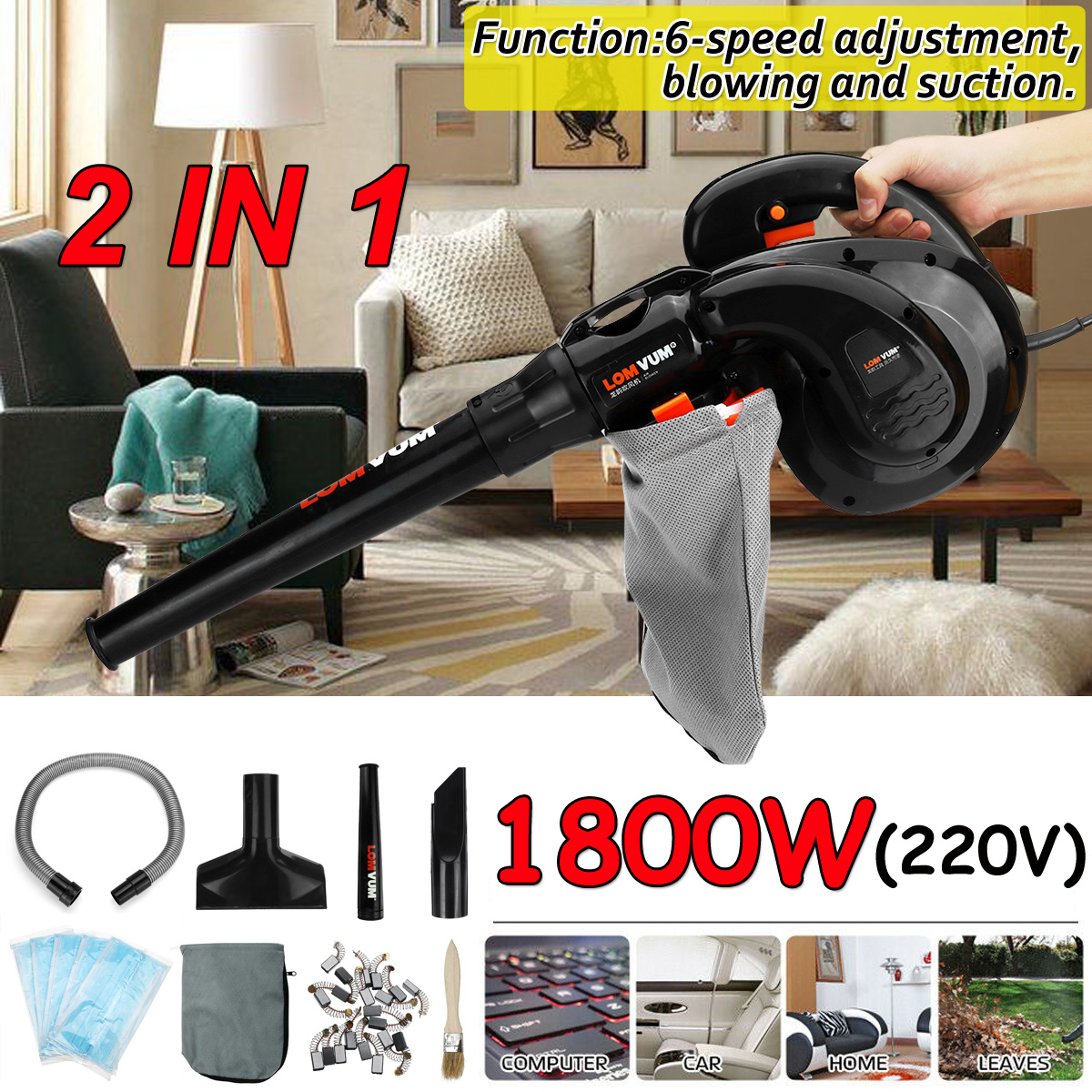 Air leaf Blower 220V 1800W Air Blower Computer Cleaner Blower Cordless Sweeper & Vacuum Cleaner Dust Collector Dual Use|Blowers| |  - title=
