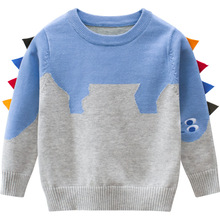 Autumn Boys Sweaters Kids Cartoon Dinosaur Pullovers Baby Clothes Children Long Sleeve Cotton Sweater Printed Costumes