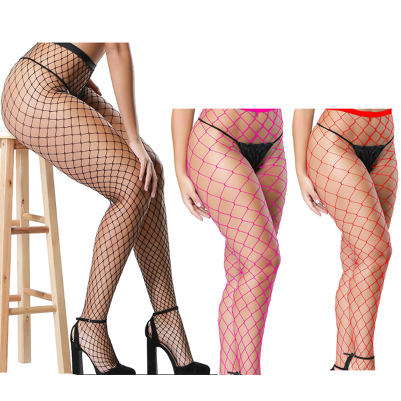 Fashion Red Medium Grid Women High Waist Stocking Fishnet Club Tights Panty Knitting Net Pantyhose Trouser Mesh Lingerie