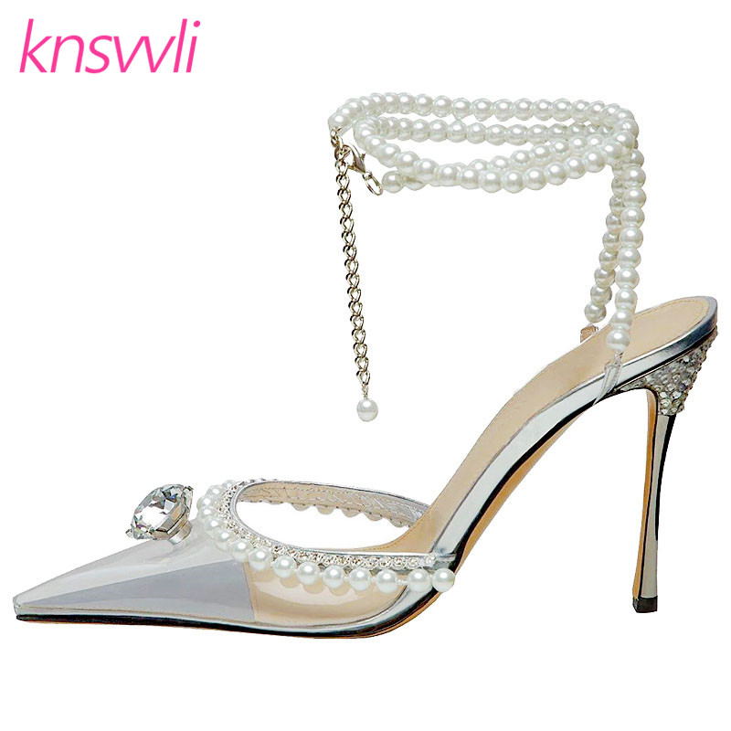 Rhinestone High Heels Shoes Women Luxury Clear PVC Pearl Chain Ankle Buckle Strap Pumps Crystal Stiletto Dress Party Shoes Woman