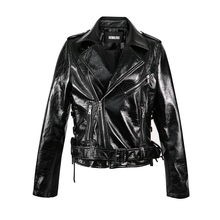 Jacket Biker-Coat Short Spring Women's Patent Slim Retro HR5033 Locomotive Glossy Bright-Surface