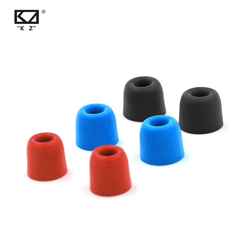 New KZ Original 3Pair(6pcs) Noise Isolating Comfortble Memory Foam Ear Tips Ear Pads Earbuds For In Earphone  KZ AS12  CCA C10