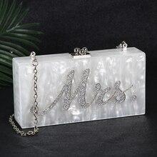 Weiß Acryl Clutch Tasche Mrs Kupplung Geldbörse und Handtasche Frauen Schulter Tasche Party Hochzeit Handtasche für Braut ZD1331