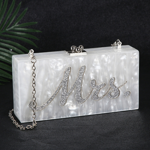 Image 1 - White Acrylic Clutch Bag Mrs Clutch Purse and Handbag Women Shoulder Bag Party Wedding Clutch Bag for Bridal ZD1331