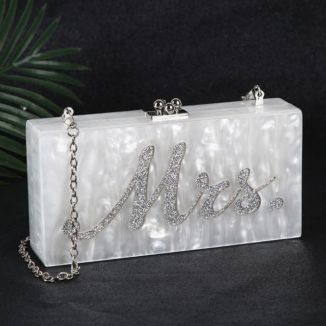 White Acrylic Clutch Bag Mrs Clutch Purse and Handbag Women Shoulder Bag Party Wedding Clutch Bag for Bridal ZD1331