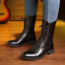 Marque italienne designer hommes de luxe de mode bottes en cuir véritable chaussures à lacets automne hiver longue botte zapatos de hombre bota masculina