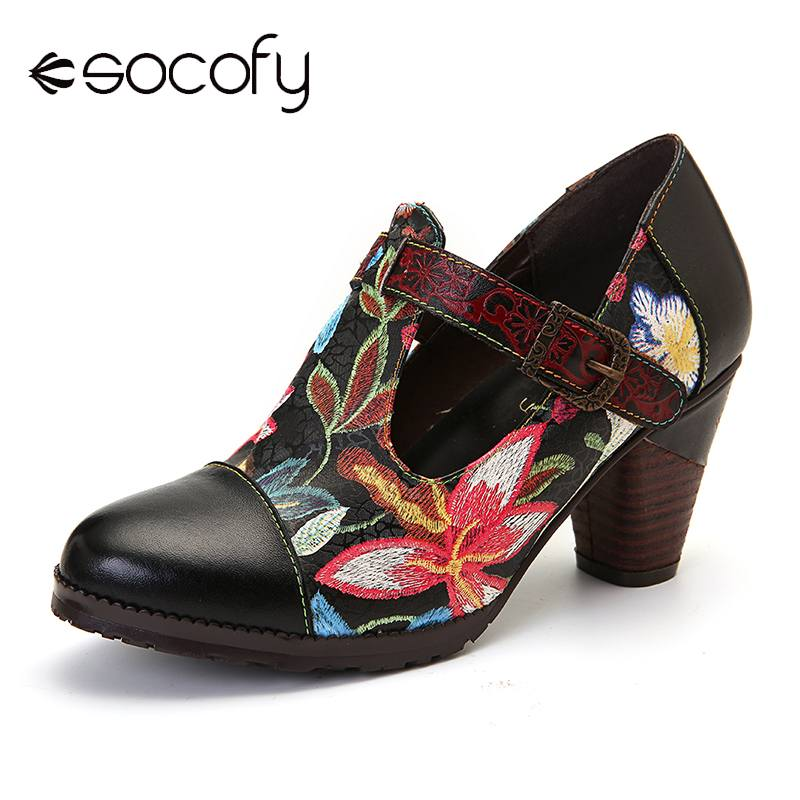 SOCOFY Folkways Colorful Flowers Stitching Genuine Leather Retro T-Strap Dress Pumps For Women Shoes Women Botines Mujer 2020