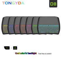 цена на 7 Colors Backlight D8 Pro Plus i8 English Russian 2.4GHz Wireless Mini Keyboard Air Mouse Touchpad Controller for Android TV BOX