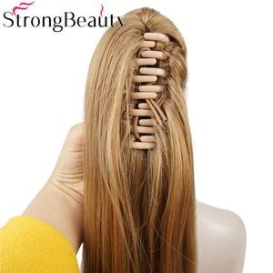 Image 5 - StrongBeauty extensiones de cabello con Clip para cola de caballo, largo sintético, recto