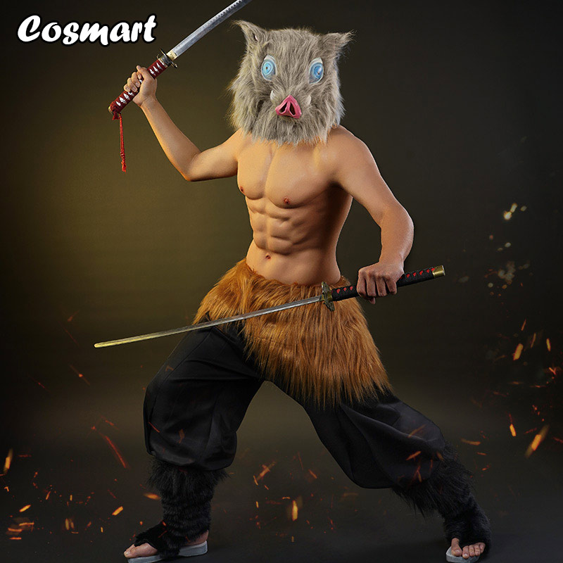 Anime Demon Slayer Kimetsu no Yaiba Hashibira Inosuke Cosplay Costume Uniform Clogs Mask Pig Head Halloween Costumes for Women a