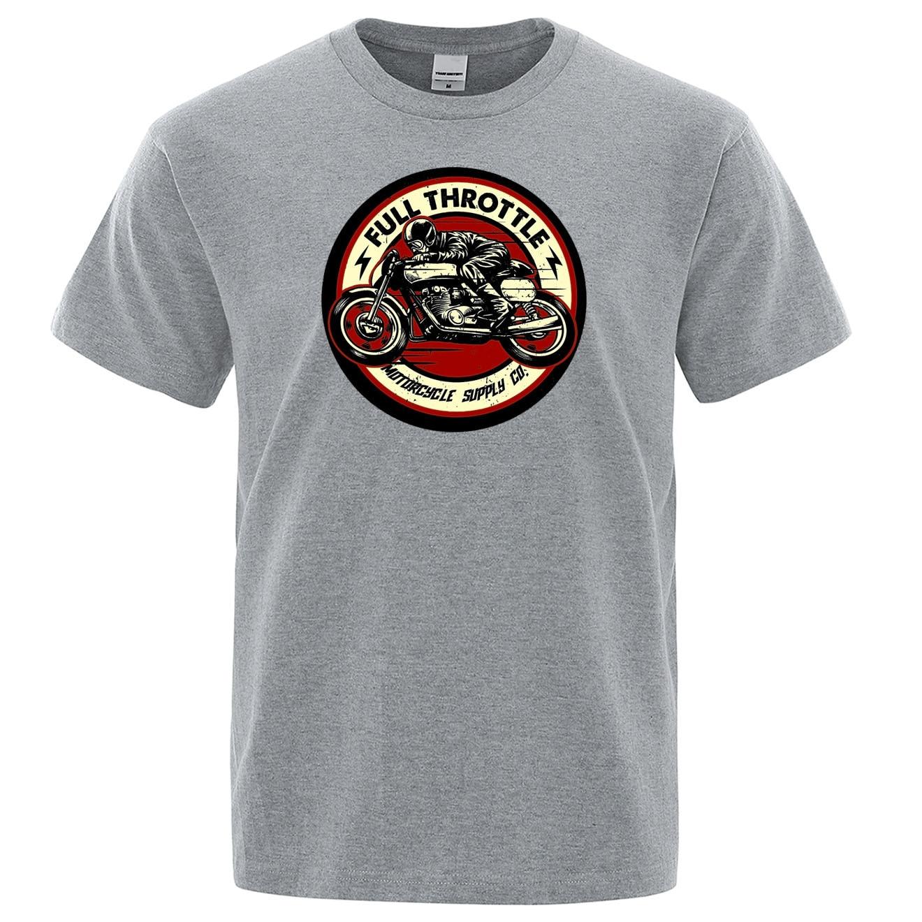 Full Throttle Cafe Racer Rockabilly Biker T Shirts 2019 Summer Cotton Tshirt Casual Brand Streetwear Harajuku Fashion T-shirts