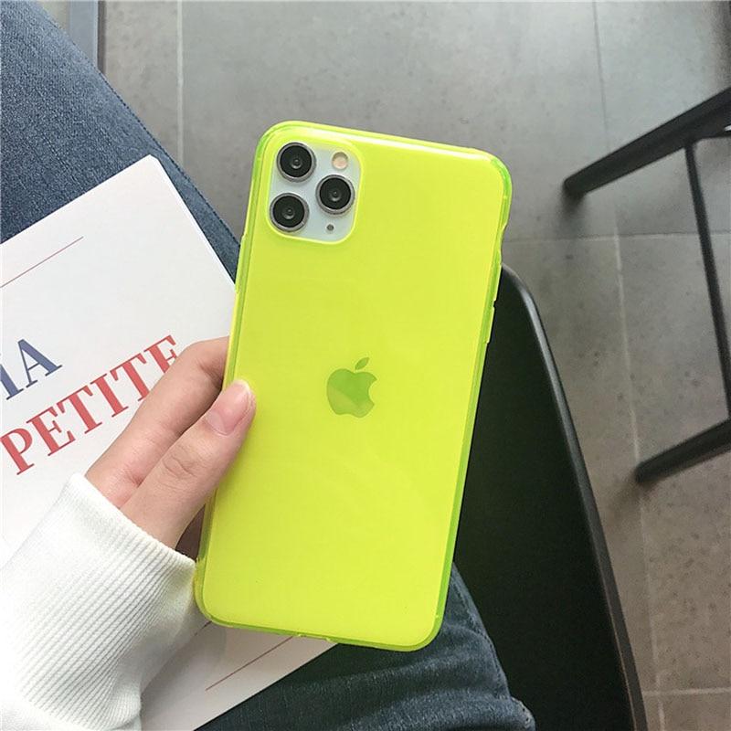 Luxury neon fluorescent phone case for iphone 11 pro max xr  7 8 x xs Max Plus case Transparent soft Back Cover Fundas Coque