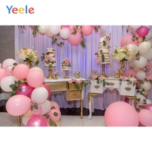 Yeele Happy Birthday Balloons Cake Party Celebration Scene Baby Photography Background Photographic Studio Photo Backdrop Wall laeacco happy easter day flags chick haystack brick wall home decor scene photography backdrop photo background for photo studio