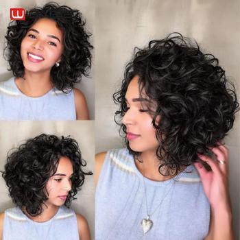 Wignee krótki afro perwersyjne kręcone ludzkie włosy peruki dla czarnych kobiet naturalne miękkie brazylijski Remy włosy Glueless koronkowa część Bob ludzkie peruki tanie i dobre opinie Średnia wielkość Średni brąz Ciemniejszy kolor tylko Swiss koronki Brazylijski włosy Best Selected Unprocessed Natural Human Hair