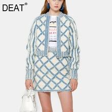 Short Jacket Women Clothing Denim Coat Summer DEAT Full WL26405L Zippers Wool Round Female