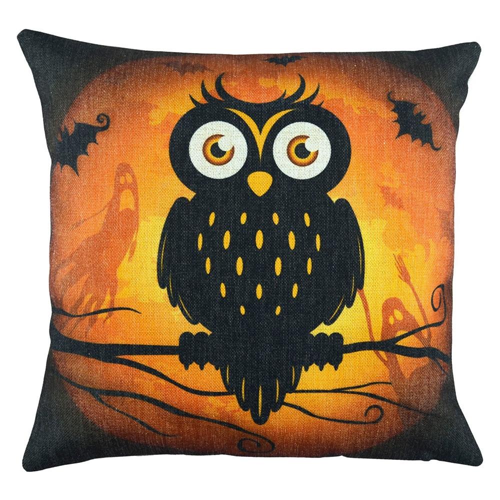 Halloween Pillowcase Owl Animal Print Linen Cartoon Living Room Decorative Pillowcases Protector Fronha Almofada Dropshipping #