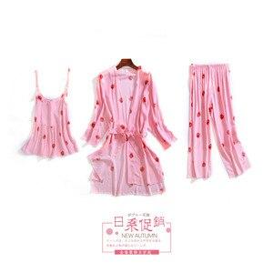 Image 5 - Daeyard uyku salonu 3 parça pamuk pijama setleri kadınlar beyaz çilek baskı pijama pijama sevimli pijama bahar ev takım elbise