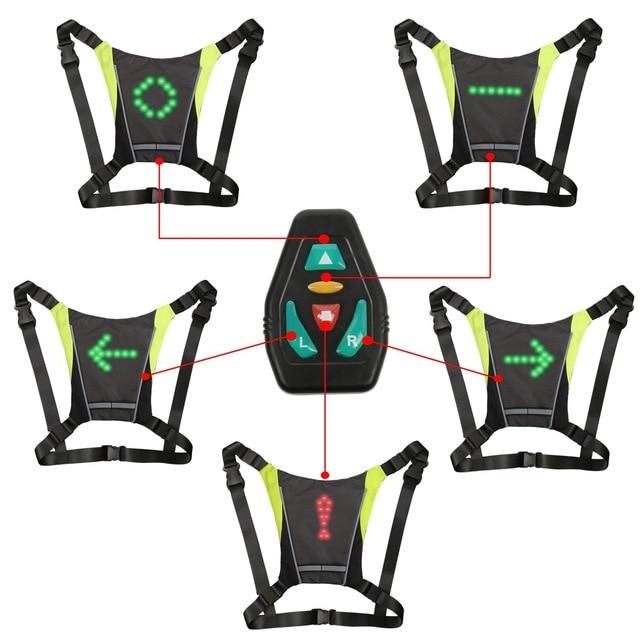 サイクリングled信号vest自転車安全ワイヤレスターン信号光を実行している照明ベスト安全反射警告ベスト