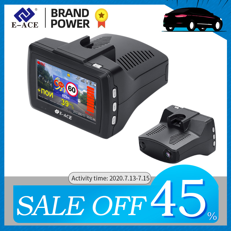 E-ACE G07 3 IN 1 Car Dvr Dashcam 3.0 Inch HD 1296P Dash Cam Radar Detector GPS Auto Registrator Video Recorder Dash Camera Dvrs