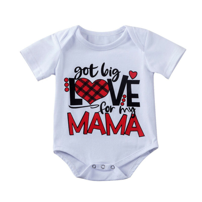 0-18Months Valentine's Day For Baby Infant Girls got big LOVE for my MAMA Printed Bodysuit Short Sleeve One piece image