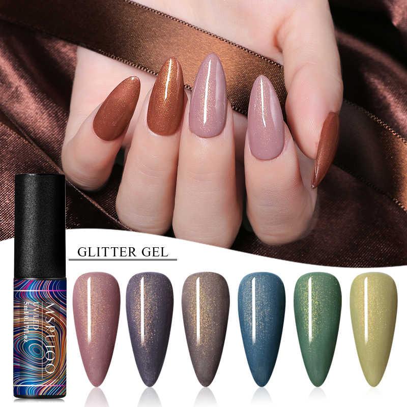 Msruioo Berkilau Platinum Gel Nail Polish Glitter Mengkilap Payet Rendam Off Kuku Dicat UV LED Gel Nail Art Gel pernis