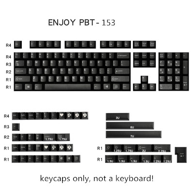 153 Keys/set Enjoypbt Black Color Keycap ABS Double Shot Mechanical Keyboard Key Caps For MX Switch Cherry Profile