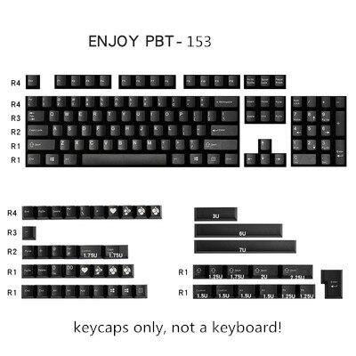 153 Keys/set Enjoypbt Black Color Keycap ABS Double Shot Mechanical Keyboard Key Caps For MX Switch Cherry Profile
