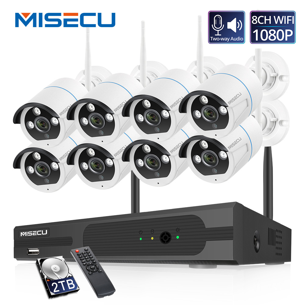 MISECU 8CH Wireless Camera CCTV System 1080P 2MP NVR Kit IR Outdoor Wifi IP Camera Two Way Audio Video Security Surveillance Set