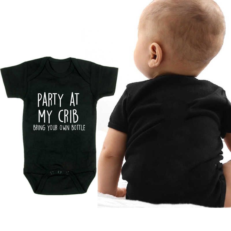 Party at My Crib Newborn Unisex Short Sleeve Onesie Bodysuit Romper Jumpsuit