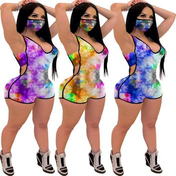 Sexy Tie-Dye Printed Jumpsuit  Cut Out Tank Romper Women Short One Piece Playsuit Night Club Party Summer Bodycon Outfits purple sexy cut out backless playsuit with self tie design