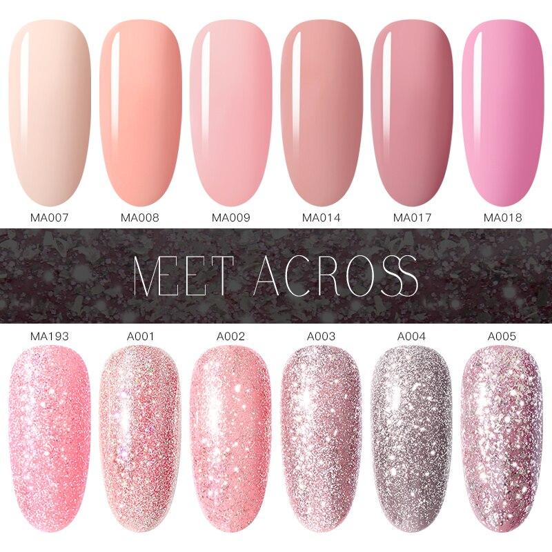MEET ACROSS Pink UV Gel Nail Polish Rose Gold Glitter Sequins Color Gel Varnish Soak Off UV Nail Art Gel Polish in Nail Gel from Beauty Health