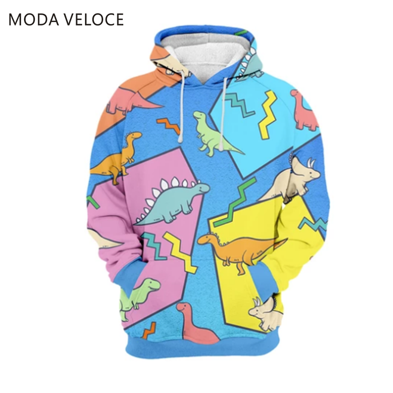 MODAVELOCE Dino Hoodie Polyester With Wool Cartoon Patchwork Sweatshirts Ladies Anime's Cotton Hoodie 3d