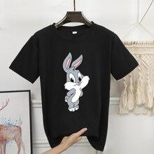 2020 impressão de verão dos desenhos animados coelho bonito camisa feminina o-pescoço manga curta 8 cores branco preto kawaii camisas