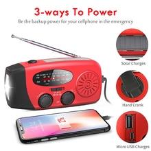 5 in 1 Emergency Radio 1000mAh Solar Power Bank Hand Crank Self Powered Phone Charger