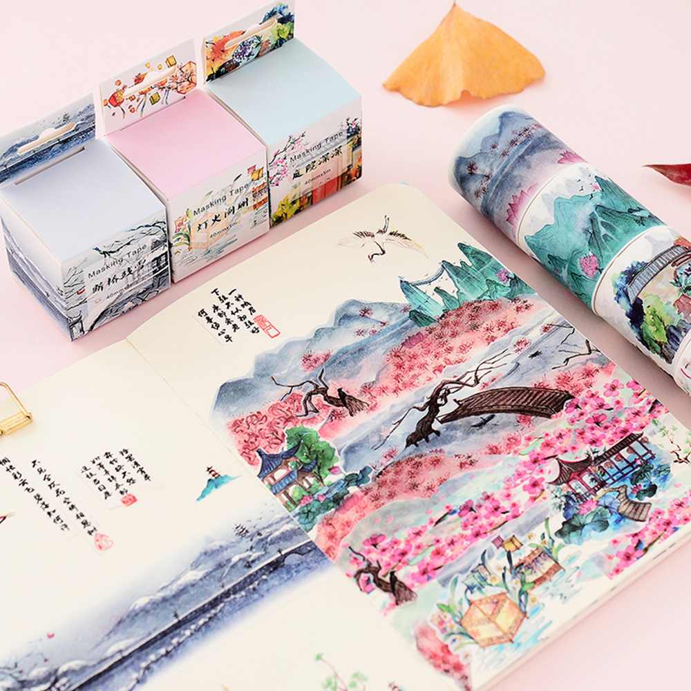 1 Pcs Chinese Landscape Flowers Plants Vintage Scenery Decoration Washi Tape DIY Planner Diary Scrapbooking Masking Tape