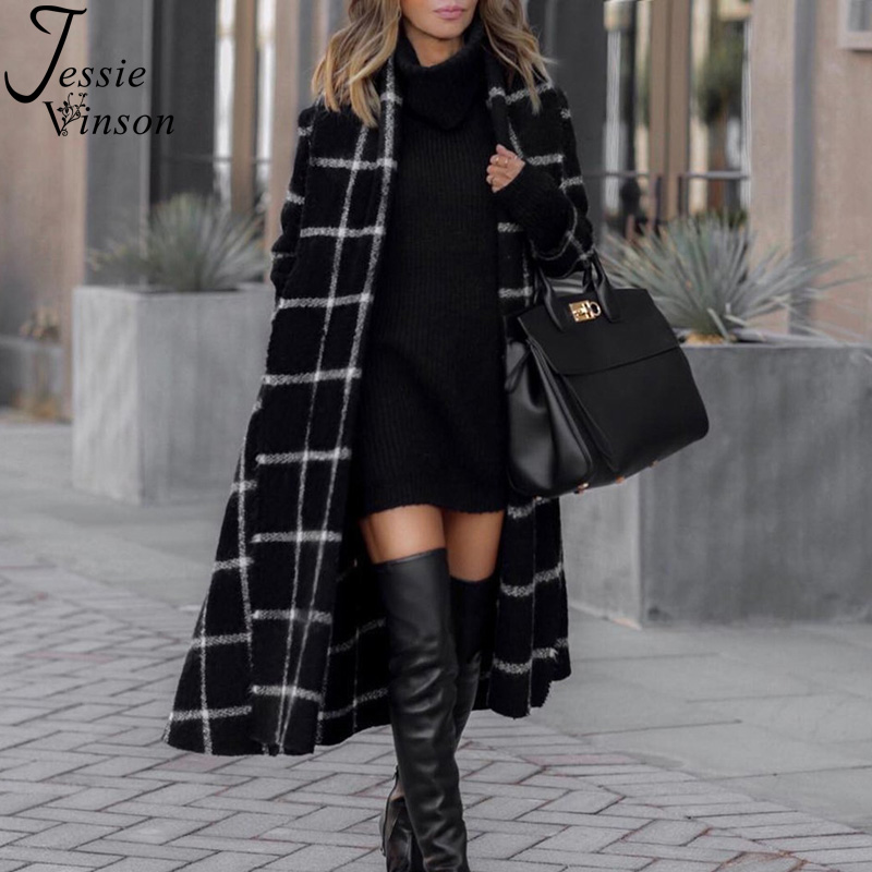 Jessie Vinson Vintage Black Hooded Plaid Long   Trench   Coat Women Chic High Street Belted Windbreak   Trench   Lady Wool Coat Winter