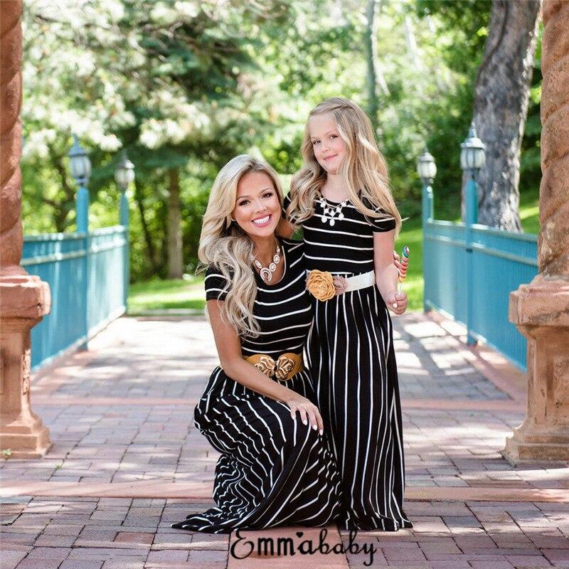 Hirigin New Fashion Family Matching Mother Daughter Maxi Dress Beach Casual Striped Mom Girls Long Dress Short Sleeve Sundress
