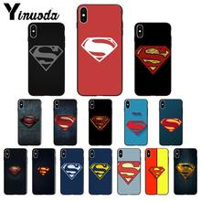 Yinuoda DC superman logotipo Silicone TPU Soft black Phone Case para iPhone 5 5Sx 6 7 7plus 8 8 mais X XS MAX XR(China)