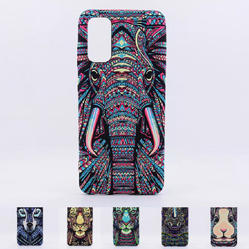 LUXO Forest King Aztec Animals Faces Lion Wolf Owl Pattern Soft TPU Phone Case Cover for Samsung Galaxy S20 Ultra Case S20 Plus