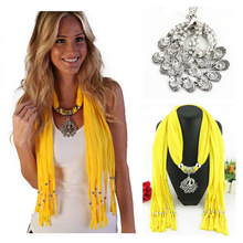 peacock alloy pendant scarf, womens scarf in Europe and America