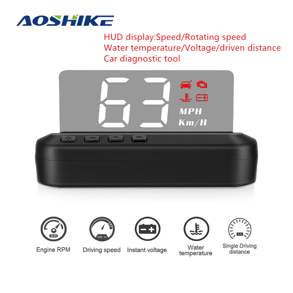 AOSHIKE Car HUD Head-up Display Car Diagnostic Tool OBD2 LED Stereo Display Fault Code Elimination Safe Driving Overspeed Alarm