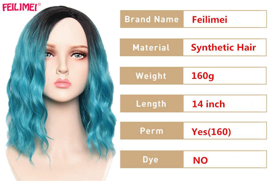 Feilimei Ombre mavi pembe kırmızı peruk sentetik uzun dalga kadın Cosplay peruk 14 inç kısa siyah saç uzatma kadınlar için