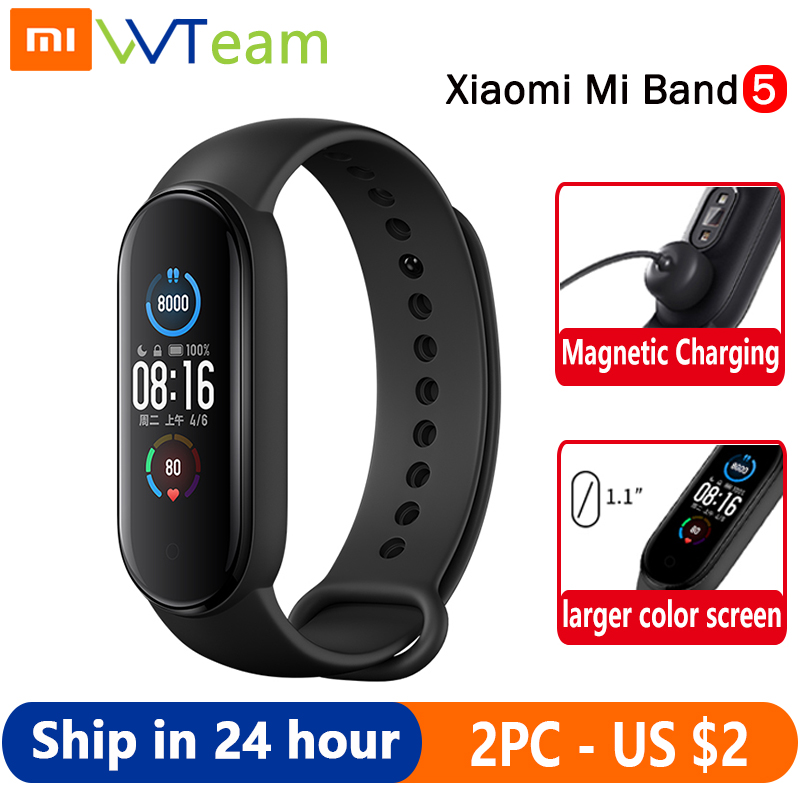 Смарт браслет Xiaomi Mi Band 5, 4 цвета, AMOLED экран, Mi Band 5, смарт браслет, фитнес трекер, Bluetooth, спортивный водонепроницаемый смарт браслет|Смарт-браслеты|   | АлиЭкспресс
