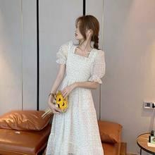 2021 verão flor design coreano doce vestido feminino curto-mangas compridas chiffon elegante temperamento polka-dot festa saia feminino