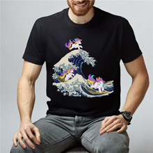 Great Wave Unicorns T-Shirt Funny Graphic Tee Unisex Tumblr T-Shirt Gift Tee Breathable Tops Tee Shirt(China)
